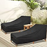 [2021 New] GARDRIT Patio Chaise Lounge Cover Waterproof Heavy Duty Outdoor Lounge Chair Covers, 600D All Weather Protection Patio Furniture Covers, 84L x 32W x 27H inch - 2 Pack