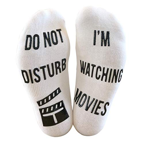 'Do Not Disturb, I'm Watching Movies' Funny Ankle Socks - Great Birthday Christmas Gift For Movie Fans