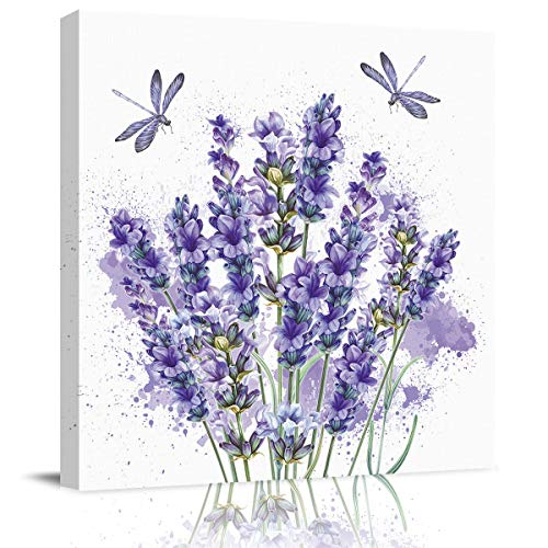 Miss Sweetheart Canvas Wall Art Oil Painting-Purple Lavender Dragonfly,Frame Stretched Wall Modern Artwork for Bedroom/Living Room/Bathroom Decor,Ready to Hang,1 Panel 12'x12'