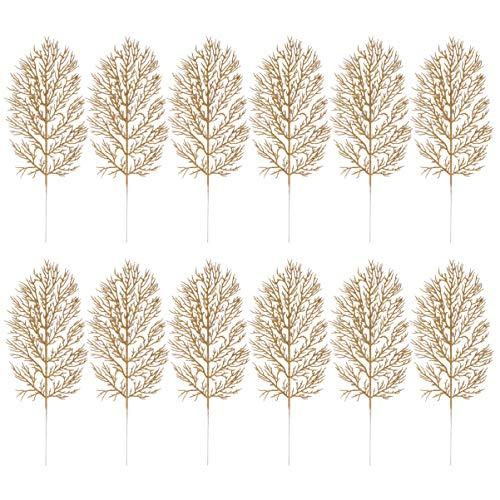 Cabilock 12Pcs Brillo Artificial Hojas de Navidad Espray de Hoja de Brillo Adorno de Selección de Árbol de Navidad Guirnalda de Bricolaje Relleno de Florero Guirnalda de Boda Decoraciones