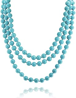 Bling Jewelry Infinite stratificazione Long Strand Boho Moda compresso Turchese Perline Collana per Le Donne per i Teen pi...