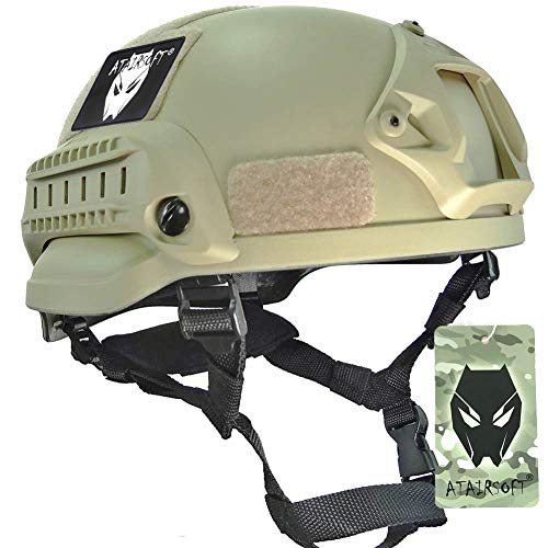 ATAIRSOFT Mich 2002 Kampf Schutz Helm mit Side Rail & NVG Berg DE für Airsoft Taktisch Militär Paintball Jagd