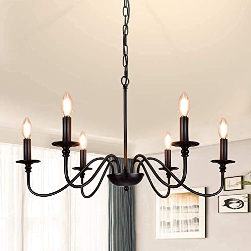 high quality Depuley Black Farmhouse Chandeliers, 6-Light online sale Industrial Iron Chandeliers Lighting, Classic Candle Ceiling Pendant online sale Light Fixture for Foyer, Living Room, Kitchen Island, Dining Room, Bedroom outlet online sale
