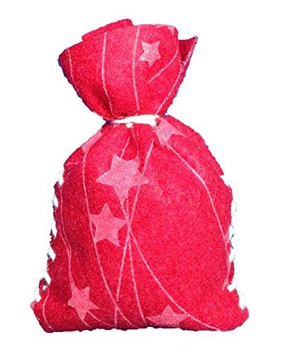 Petra's Bastel News 24 x Säckchen für Adventskalender in rotem Sternefilz inkl. zugeschnittenen Filzteilen, Band, Stopfnadel und Anleitung Nähset, Fliz, 25 x 18 x 5 cm
