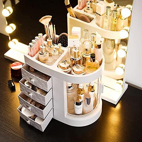 360 organizador de joyas giratorio caja de almacenamiento de cosméticos organizador de maquillaje transparente collar de pendientes organizador de escritorio Dropshipping-4CT