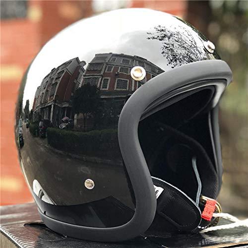SHUHANX Casco de Moto Cafe Racer Casco Carcasa de Fibra de Vidrio Lightweight-Black_XL