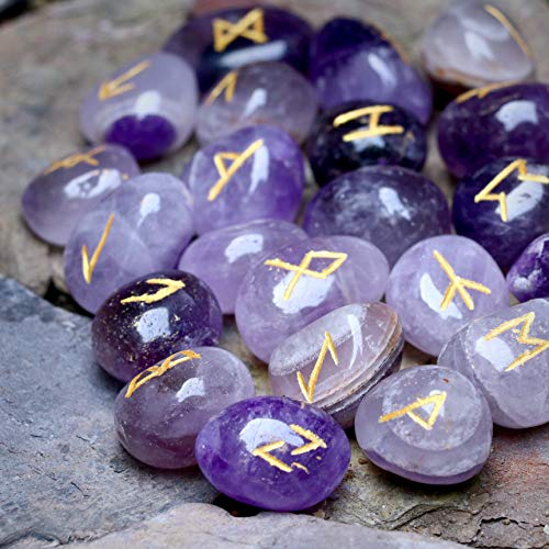 Crocon Amethyst Gemstone Runes Stones Set with Elder Futhark Alphabet Engraved Symbol 25 pcs Set | Size: 15-20 mm