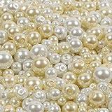 Cuentas de perlas de cristal blanco y crema, 430 piezas, mezcla de 4 mm, 6 mm, 8 mm y 10 mm para hacer joyas, decoración del hogar y boda y manualidades