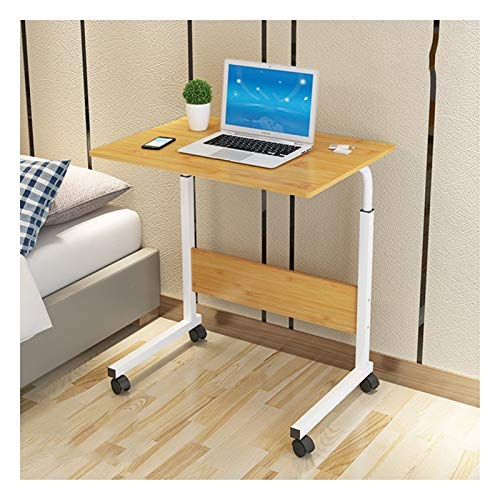 Mobile Lap Table Days Overbed Table Height-Adjustable,Mobile Laptop Stand Desk,Portable And Sturdy Laptop Desk With Wheels, Living Room, Classroom (Color : Wood color, Size : 60x50x90cm)