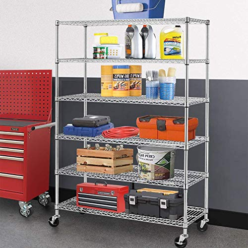 6 Wire Shelving Steel Rack with Casters 18' W X48 D X72 H Heavy Duty Height Adjustable Storage Shelves,Commercial Grade Utility for Restaurant Garage Pantry Kitchen NSF,Chrome