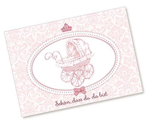 Postkarte Babykarte Glückwunschkarte zur Geburt NOSTALGISCHEM KINDERWAGEN IN ROSA SCHÖN, DASS DU DA BIST Zur Taufe und Geburt für ein Mädchen