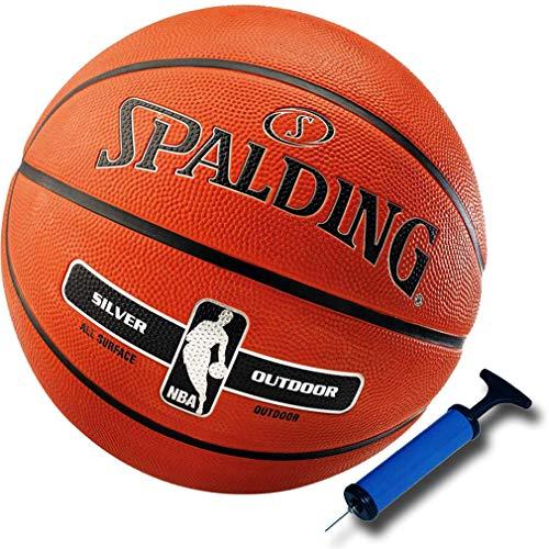 Spalding Basketball Silver für Kinder und Erwachsene NBA Logo Outdoor Größen 3, 5, 6 oder 7 (3 (ohne Ballpumpe))