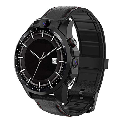 Gymqian V9 Smart Watch, 4G Volles Netcom Dual-Kamera 1,6-Zoll-Quad-Core-Smartwatch, Mit Puls-Sport-Bluetooth Pedometer Smartwatch, Für Männer Frauen exquisite Geschenk/Black 1 + 1