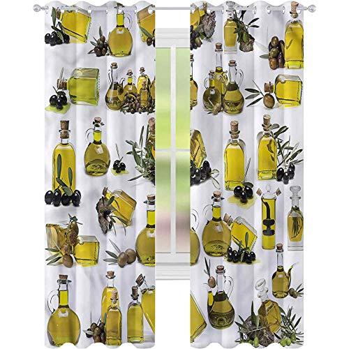 jinguizi Cortina de ventana para cocina, botellas de aceite mediterráneo, 52 x 63, cortinas opacas para dormitorio de los niños