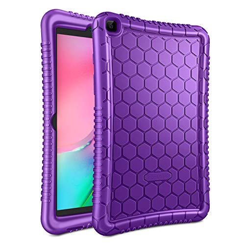 FINTIE Silicone Case for Samsung Galaxy Tab A8 2019 8 Inch Tablet (SM-T290 / SM-T295), [Honey Comb Series] Soft Kids Friendly Lightweight Shock Proof Protective Cover - Purple