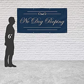 No Dog Pooping CGSignLab Classic Navy Heavy-Duty Outdoor Vinyl Banner 8x4