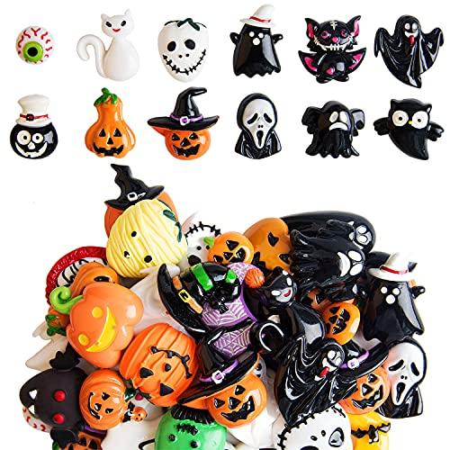 Kalolary 50PCS Assorted Halloween Craft Resin Ornaments Resin Flatback...