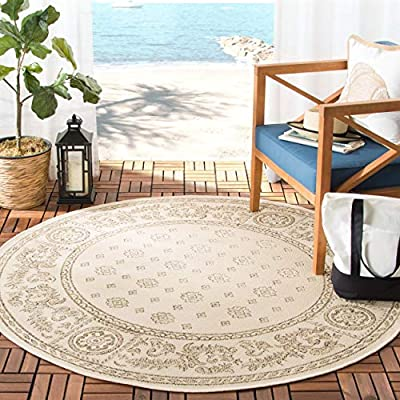 Safavieh Courtyard Collection CY1356-3101 Natural and Blue Indoor/Outdoor Round Area Rug Variation Family: 1057 -P