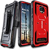 Motorola Moto Z4 / Z4 Play (2019) case, COVRWARE Aegis Series Heavy Duty Full-Body Rugged Holster Armor Cover with [Built-in Screen Protector][Belt Swivel Clip][Kickstand], Red