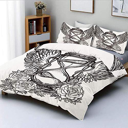 Juego de funda nórdica, figura de reloj de arena romántica dibujada a mano con alas y rosas Mystic Time Theme Symbol Juego de cama decorativo de 3 piezas con 2 fundas de almohada, blanco negro, el mej