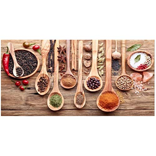 Especias coloridas y cuchara en la mesa Pinturas en lienzo Cocina temática Arte de la pared Decoración Concepto de comida Arte en lienzo retro 28x55 pulgadas (70x140cm) x1Sin marco