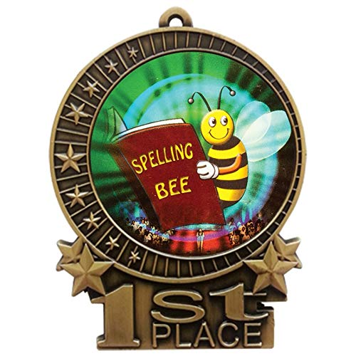 Express Medals 3 inch Spelling Bee 1st Place Gold Medal with Neck Ribbon Award XMDMY4 (1)