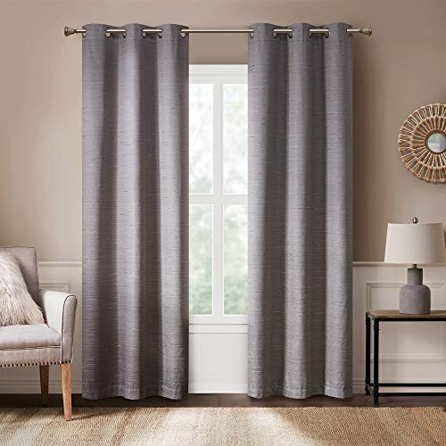 Rustic Modern Farmhouse Curtains | Kitchen, Living Room Decor | Grasscloth Faux Linen | Room Darkening Grommet Top Window Treatments | Taupe 40x63 Inches - 2 Panels