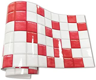 3D Mosaic Wallpaper Wall Sticker Tiles Back Splash Tile for Kitchen Bathroom Wall Decor Stairs Stickers Tiles Peel and Stick,20x240cm/ Roll,Red