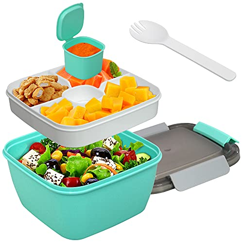 54Oz Salad -Stackable Lunch Container with Large Salad Bowl,4-Compartment Bento-Salad Dressings Container for Toppings,Snacks, for Kids & Adults (Green)
