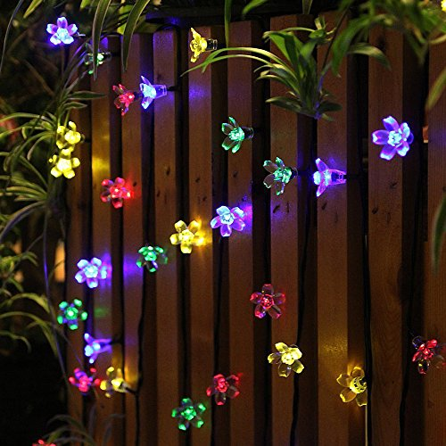 EC Technology Solar Powered String Lights, 50 LED Fairy String Lights, 22ft 8 Modes Flower String Lights, Solar Decoration Lights for Gardens, Home, X-mas, Party Decorative Ornaments
