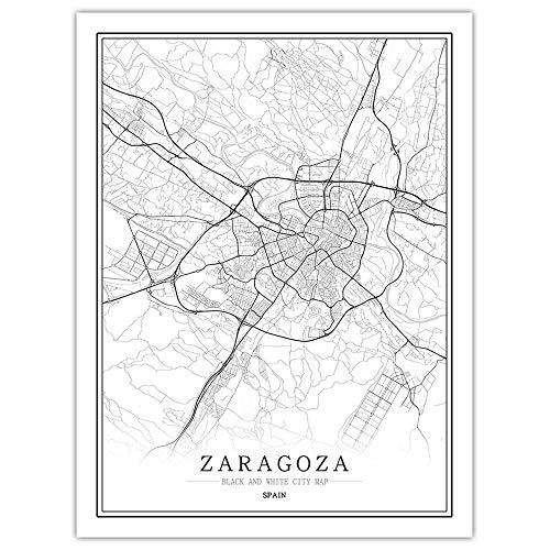 SKLHSIL Impresión De Lienzo, Arte Mural De Pared Moderno España Zaragoza Mapa Ciudad Simple Negro Blanco Póster Imagen Pintura Oficina Sala De Estar Hogar Dormitorio Decoración 70X100