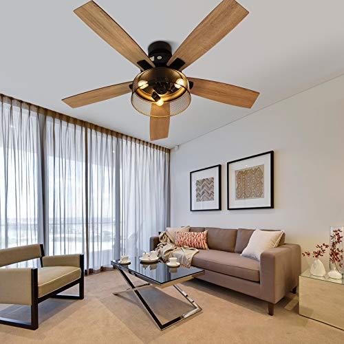 Ventilador de techo con iluminación, diseño retro con 3 luces de madera, mando a distancia, creativo jaula de hierro, lámpara colgante para salón
