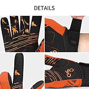 INBIKE Guantes MTB Dedos Largos para Hombre con La Funcionalidad De Pantalla Táctil, Guantes De Ciclismo Bicicleta Montaña Ciclista Bici Btt para Entretiempo(Naranja-M)