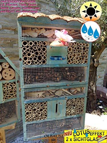ÖLBAUM 1x XXL insektenhotel Rindendach HOCH, mit Lotus+2xBrutröhrchen, Bienenhaus mit Standfuß UND TRÄNKE insektenhotel Rindendach HOCH groß 150 cm Holz blau Marineblau hell Vogelhaus Nisthaus