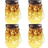 Solar Mason Jar Lights, 4 Pack 20 Leds Waterproof Fairy Firefly String Lights