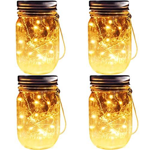 Solar Mason Jar Lights, 4 Pack 30 Leds Waterproof Fairy Firefly String Lights Build-in Glass Mason Jar, Best Patio Garden Decor Solar Hanging Lanterns Outdoor Warm White (4 Pack-Mason Jars Included)