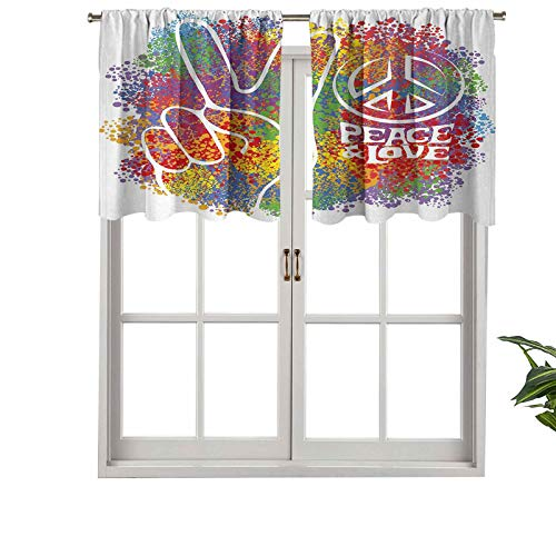 Short Blackout Curtain Valance Rod Pocket Hippie Peace Love Symbol Signs Two Fingers, Set of 1, 54'x18' Kitchen Curtains for Living Room