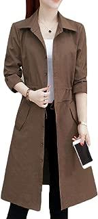 Womens Single Breasted Windbreaker Solid Jacket Outwears Overcoat