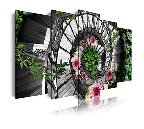 DekoArte 464 - Cuadros Modernos Impresión de Imagen Artística Digitalizada | Lienzo Decorativo Para Tu Salón o Dormitorio | Estilo Naturaleza Escalera Madera Caracol Flores Colores | 5 Piezas 150x80cm