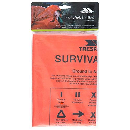 Trespass Radiator, Orange, Rettungsdecke / Thermodecke / Rettungsfolie / Survival Bag / Notfalldecke / Erste Hilfe Decke, Orange