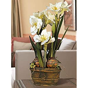 White Amaryllis 25″ High Faux Flower Arrangement-Floral tributes-Home Decor-Wedding Decor-Artificial Plants & Flowers-Faux Flowers-Artificial Plant-Bridal Bouquets for Wedding-Artificial Greenery