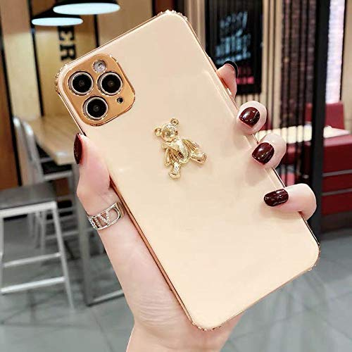 LIUYAWEI Cute Cartoon 3D Gold Bear Plating Funda de teléfono de Silicona Suave para iPhone 11 12 Pro X XR XS MAX 7 8 Plus Funda de Moda de Lujo, Rosa, para iPhone 11