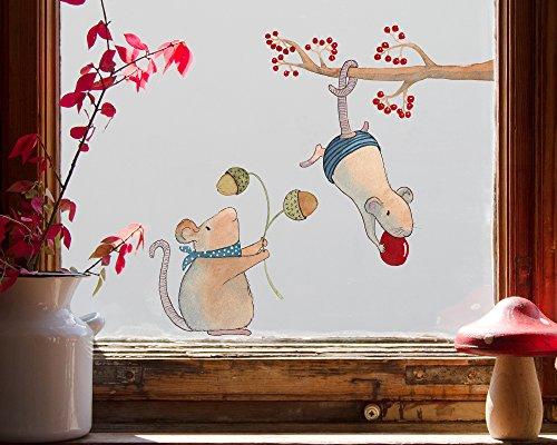 Tinyfoxes Fensterbild Herbstmäuse - Wiederverwendbare Herbstdeko fürs Kinderzimmer (mittel - 37 x 23 cm)