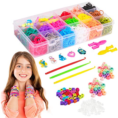 Liberry Colored Rubber Bands Bracelet Making Kit with Loom Bands Storage Container. Great Gifts for Girls and Boys, No Loom Board Included.