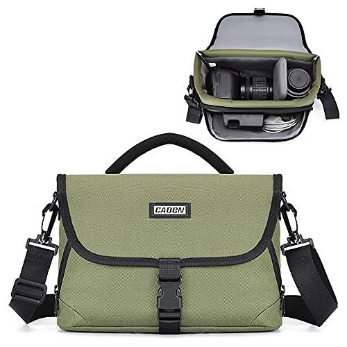 CADeN Camera Bag Case Shoulder Messenger Bag Compatible for Nikon Canon Sony DSLR SLR Cameras Waterproof Green