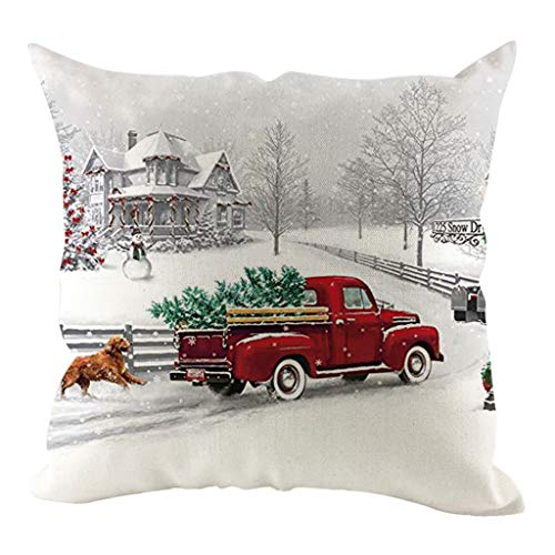 Christmas Red Truck Pillow