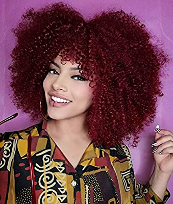 Annivia Short Curly Wig with Bangs for Black Women……