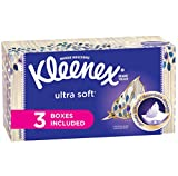 Kleenex Ultra Soft Tissues 120 Count (Pack of 3), Disposable Facial Tissues, Gentle and Durable, 3-Ply Thickness, Designs May Vary