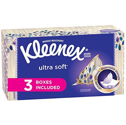 Kleenex Ultra Soft Facial Tissues Flat Box 120 Tissues per Flat Box 3 Packs