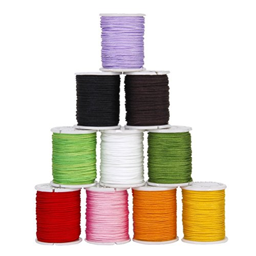 Supvox Cuerda Anudada China Hilo de Nylon Abalorios Cuerda Alambre de Hilo de macramé para Collar Pulsera 10 Colores Mezclados 0.8mm